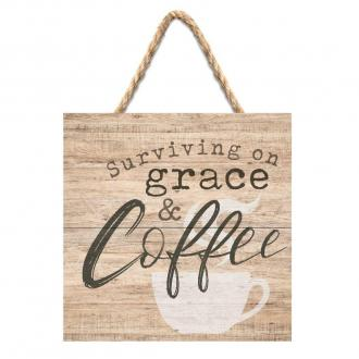 SHS 0019 Veggdekor - Surviving on Grace & Coffee (18 x 18 cm)